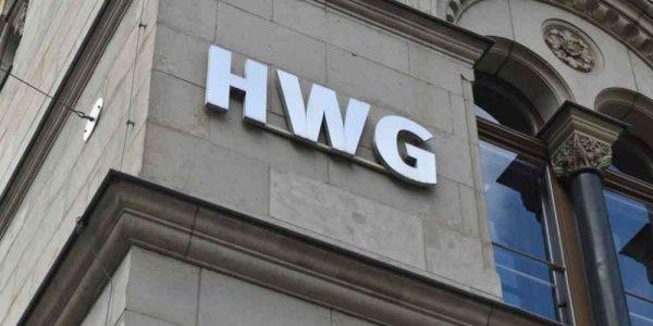 HWG-Schriftzug am Hauptgebäude der HWG am Hansering