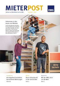 Titelseite Mieterpost 1/2015, Titelbild: Familie bei Umzug in Wohnung