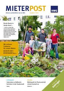Titelseite Mieterpost 3/2016, Titelbild: Jung und Alt bei der Gartenarbeit