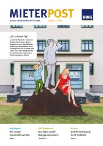 Titelseite Mieterpost 1/2018, Titelbild: HWG-Mieterladen am Landrain künstlerischer Stahlplastik im Vordergrund