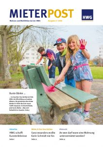 Titelseite Mieterpost 2/2018, Titelbild: Kinder bemalen eine Holzbank