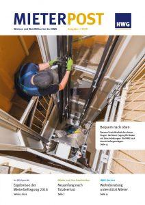 Titelseite Mieterpost 1/2019, Titelbild: Arbeiter bei Aufzugsbau