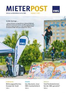 Titelseite Mieterpost 2/2019, Titelbild: Skatepark in Waldstadt Silberhöhe mit Jugendlichen und Kindern, HWG-Fahne im Hintergrund